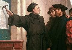 Martin Luther posting his 95 theses in 1517. Painting by Ferdinand Pauwels (1872).